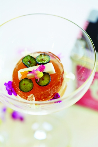 DILMAH ROSE & VANILLA TEA JELLY, KIWI & BLUEBERRY JELLY AND COCONUT GEL WITH ROSE SYRUP