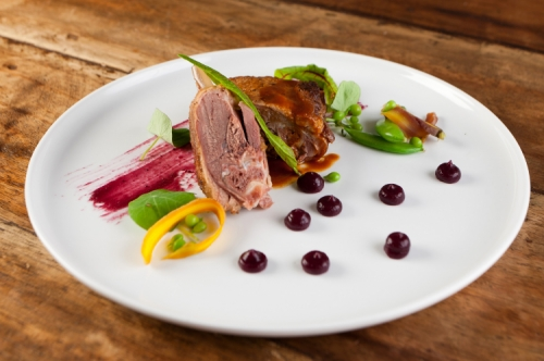Duck Confit Blueberry and Clove Gel