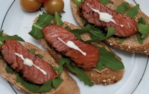 Earl Gray Tea Infused Cured Atlantic Salmon Open Sandwich On Multigrain Loaf