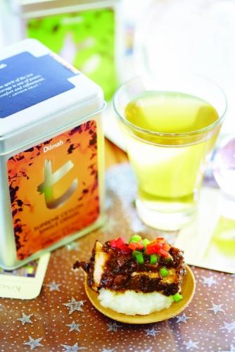 SALMON IN BLACK TEA WITH COCONUT SAUCE & RICE