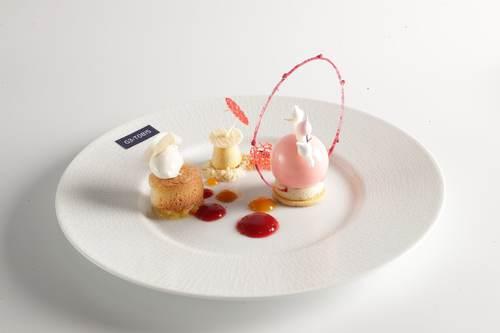 White Chocolate Mousse with Orange Sorbet