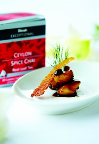 PAN SEARED SCALLOPS IN CEYLON SPICE CHAI TEA