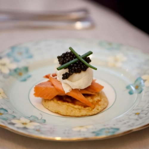 Uda Watte smoked Rainbow Trout, Caviar, Soft-Poached Quail Eggs, Chive Flower