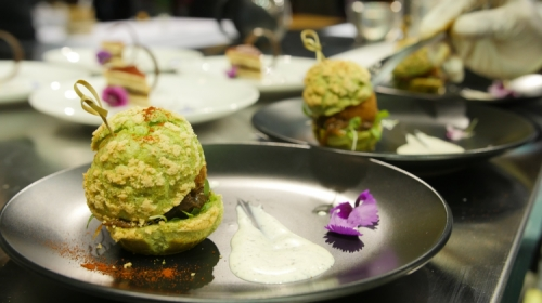 Dilmah Rosemary with Peppermint Tea infused Lamb Croquette Burger