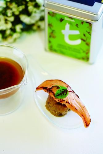 TORCHED SALMON, GREEN TEA AND PICKLED MUSHROOM DUMPLING WITH DILMAH JASMINE GREEN TEA MISO BROTH