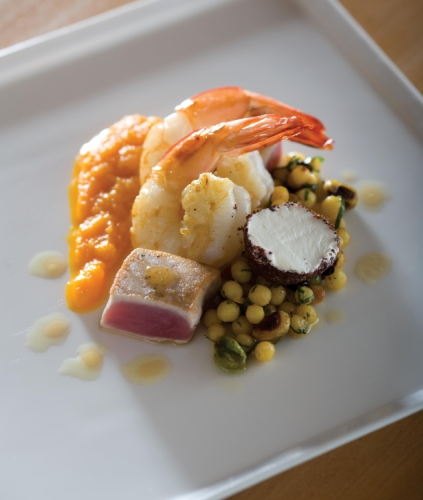 Seared Tuna and Prawns with Mougrabieh, Carrot Puree and Arabian Mint Tea with Honey Dressing