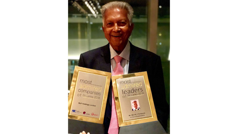 Dilmah Founder Merrill J. Fernando was honoured as one of the three Most Admired Leaders...