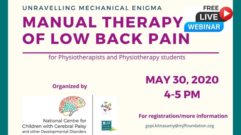 Free webinar on 'Manual Therapy of Low Back Pain'