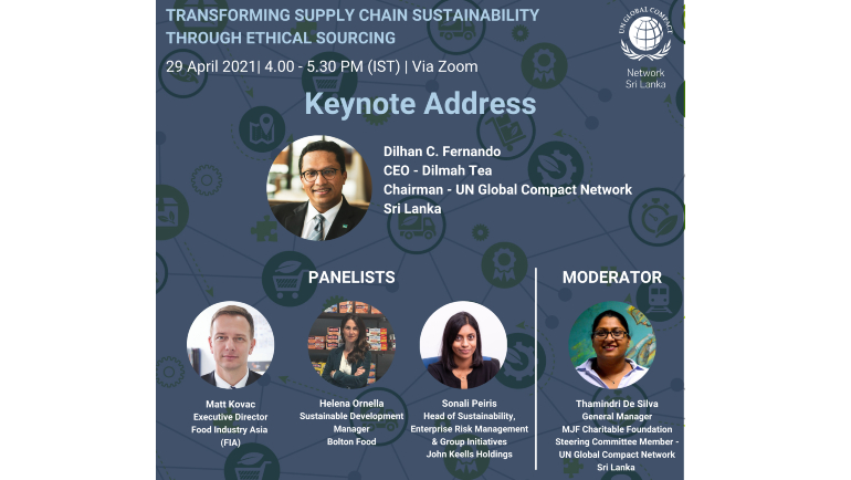 "The UN Global Compact Network Sri Lanka will host a Webinar titled ""Transforming Supply Chain..."