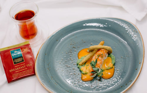 Dilmah  Founder's  Anniversary  Reserve  breakfast  tea  paired with  Seafood  Whirlpool