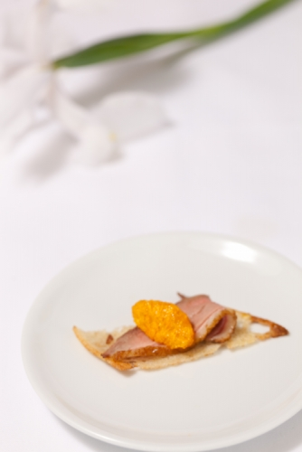 Pan Roasted Duck Breast with Mandarin on Crispy Ciabatta