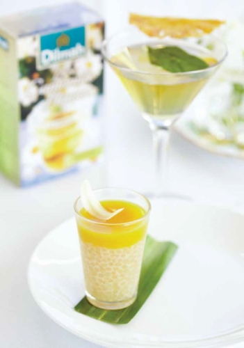Chamomile and Mango Sago Pudding with White Chocolate Chamomile Petal