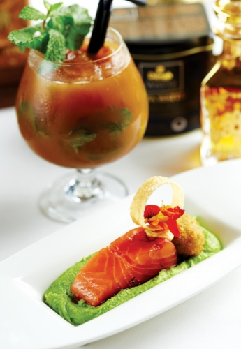 SALMON CONFIT WITH BREADED CRABMEAT AND PUREE OF PEAS