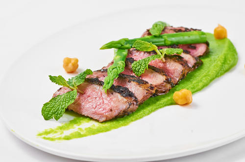 Moroccan Mint Tea Crusted Lamb, Pea Puree, Green Asparagus