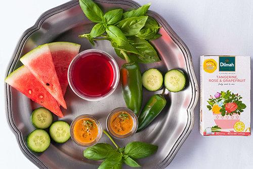 Watermelon, Tangerine, Rose and Grapefruit Gazpacho Shot
