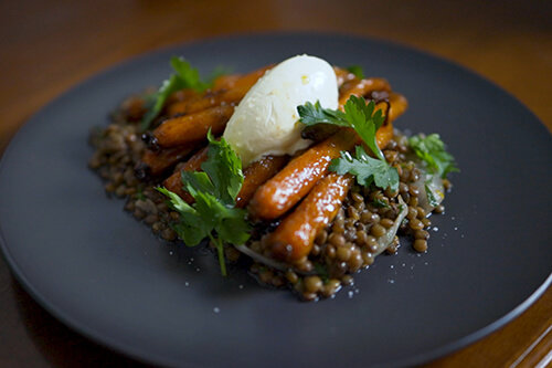 Carrots Cooked in Dilmah Premium Ceylon Tea, Puy Lentils, Soured Sour Cream