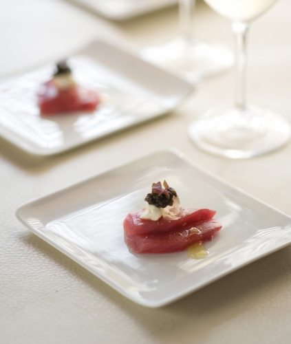 Sashimi of Blue Fin Tuna with Green Tea, Chamomile and Ginger Jelly