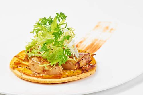 Seared Foie Gras on Mango Tart with Mango Strawberry Glaze