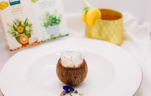 Coconut and Mango Tea Infused Mousse, Lemongrass and Spearmint Tea Infuse Sponge, Coconut Sago with Coconut Chocolate Shell and Cocoa Nibs