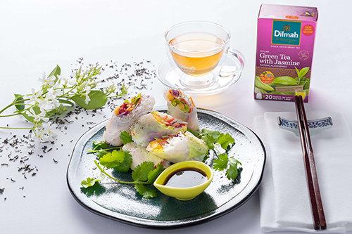 Vietnamese Spring Rolls, with Green Tea with Jasmine Sweet Chilli Nam Jim