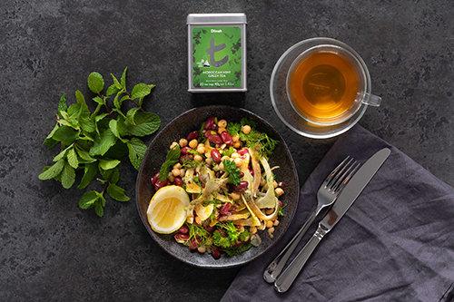 Whole Grain Bean Salad with Fresh Herbs, Moroccan Mint Tea, Fennel and Turmeric