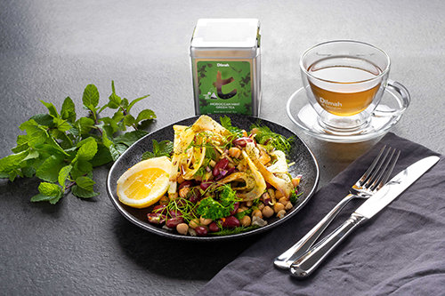 Whole Grain Bean Salad with Fresh Herbs, Moroccan Mint Tea, Fennel and Turmeric