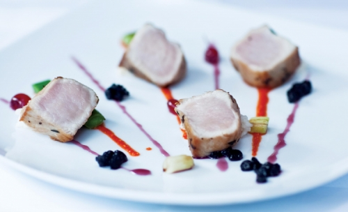 Roasted Pork Loin with Jasmine Tea Sticky Rice and Cherry Salsa
