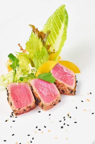 Tuna Tataki, Salad of Roasted Peach and Greens with Mango and Strawberry Infused