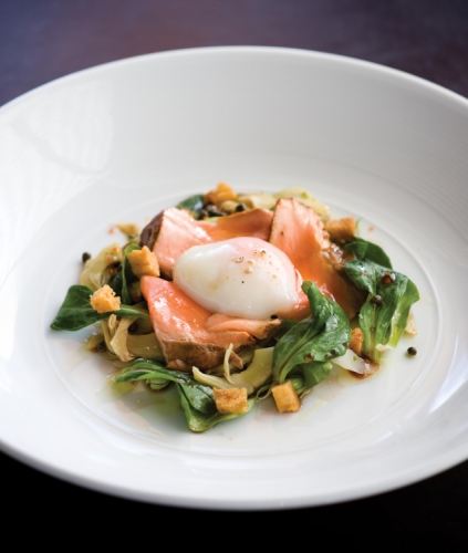 Tea Smoked Ocean Trout with Poached Egg, Broad Beans and Artichoke