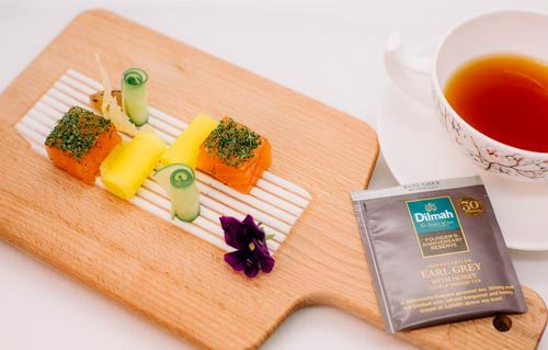 Dilmah Founder's Anniversary Reserve Earl Grey with Honey Paired with Home Cured Salmon, Wasabi Sour Cream and Rolled Cucumber