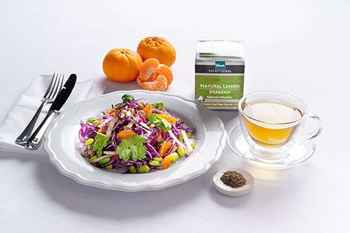 Shaved Red Cabbage, Natural Lemon Verbena with Organic Apple Cider Vinegar and Pumpkin Seeds