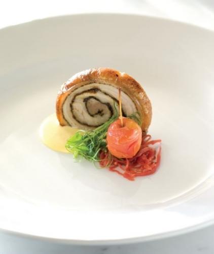 Nilagama Single Estate Tea Cured Free Range Pork Belly, Sweet Corn Custard, Pickled Red Cabbage and Crab Apple
