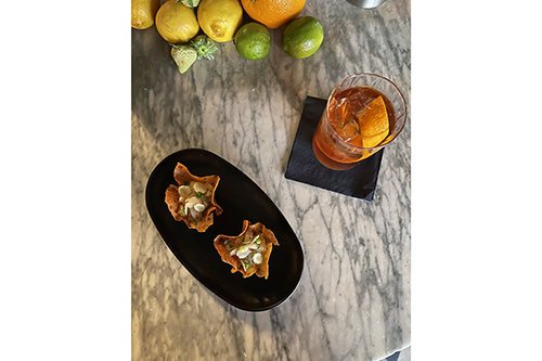Tea Infused Tartelettes with Oolong Mousse and Hamachi