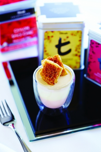 3 WAY TEA INFUSED PANNA COTTA OF CHAI, ROSE WITH FRENCH VANILLA AND CHAMOMILE TOPPED WITH A FRESH HONEYCOMB.