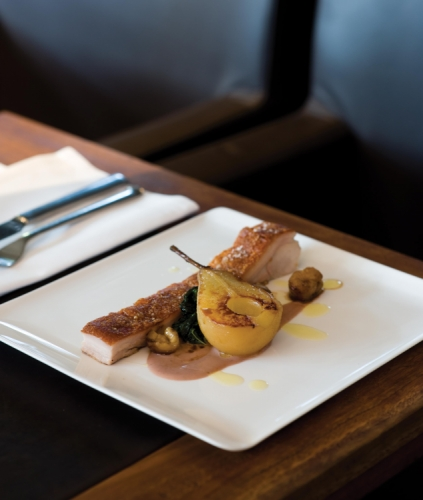 Confit of Suckling Pig with Masala Chai Spiced Pears and Chestnut Puree
