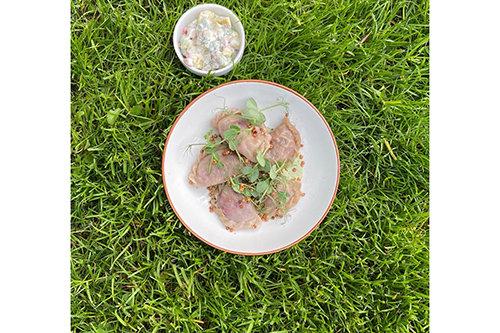 Green Tea Spring Dumplings with Vegetable Salad & Kefir Green Tea Sauce