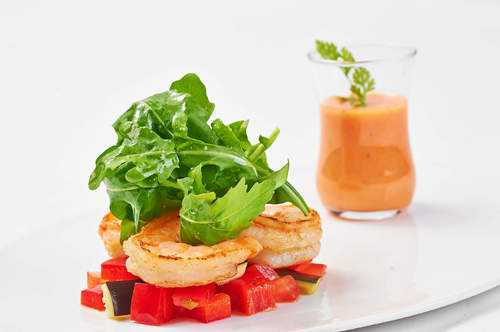White Tomato Rose French Vanilla Gazpacho, Fresh Water Prawn and Arugula Salad