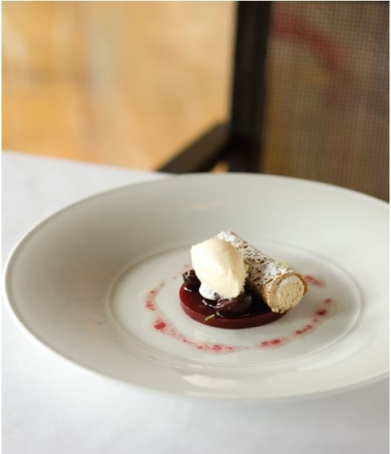 Earl Grey Tea Infused Vanilla Cream with Tea Soaked Cherries, Gingerbread and Raspberry Jelly