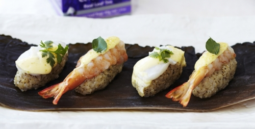 Prawns and Scallops with Perfect Ceylon Tea Sushi Rice