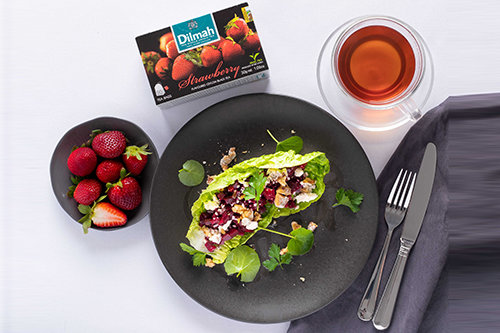 Beetroot Tartare, Walnuts and Black Tea with Strawberry