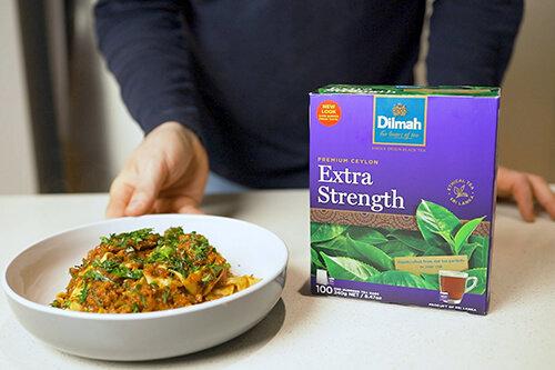 Slow Cooked Mushroom Ragu in Dilmah Extra Strength Ceylon Tea Stock with Tagliatelle Pasta