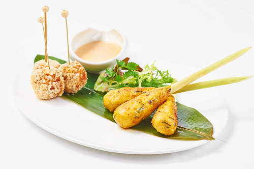 Spicy Seafood Skewer and Crispy Crab Cake with Dilmah Earl Grey Dip
