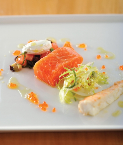 Confit of Petuna Ocean Trout and Moreton Bay Bug with Ceylon Green Tea Dressing