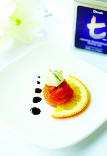 ORANGE MARINATED SALMON, VODKA FOAM