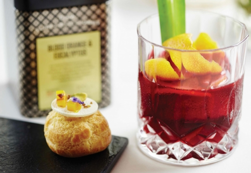 MANGO COMPOTE AND GULA MALACCA MOUSSE IN CHOUX