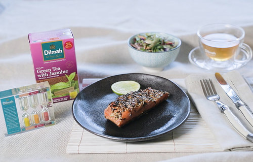 Dilmah green tea with jasmine crusted salmon