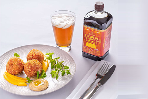 Beetroot and Goat Cheese Arancini with Black Tea Peach Aioli