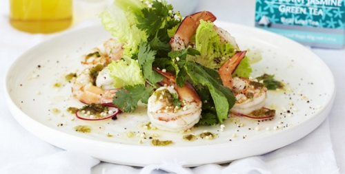 Green Tea and Jasmine Scented Steamed Prawns with Jalapeno Vinaigrette