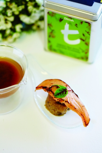 TORCHED SALMON, GREEN TEA AND PICKLED MUSHROOM DUMPLING WITH DILMAH JASMINE GREEN TEA MISO BROTH